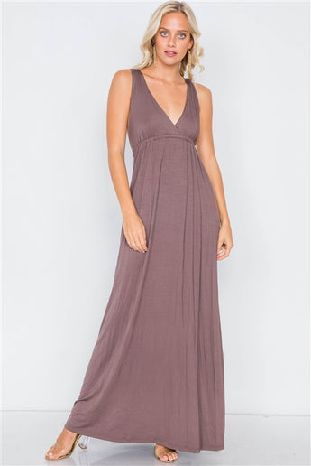 Brown Surplus V-Neck Open Back Maxi Dress- Full