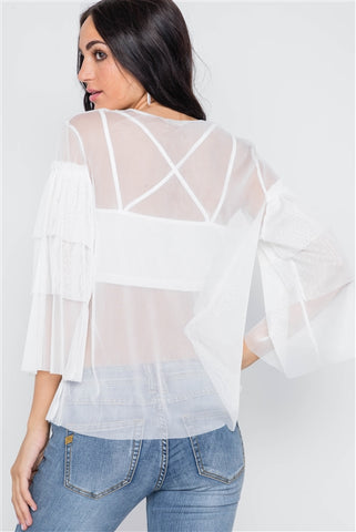 White Sheer Two Piece Mesh Long Sleeves Top- Back