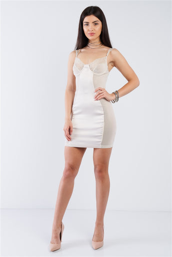 Champagne Satin Mesh Cut-Out Floral Lace Trim Slip Mini Dress- Full