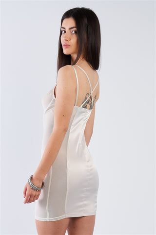 Champagne Satin Mesh Cut-Out Floral Lace Trim Slip Mini Dress- Back