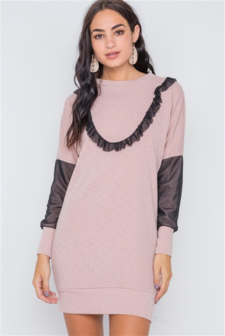 Mauve mesh detail mini tunic sweater dress