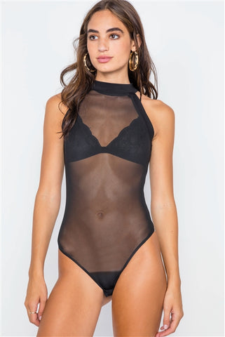 Black Mash Sheer Mock Neck Sleeveless Bodysuit