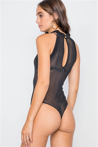 Black Mash Sheer Mock Neck Sleeveless Bodysuit- Back