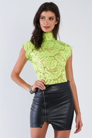 Neon Lime Green Lace Collared Short Sleeve Corset Back Sexy Bodysuit