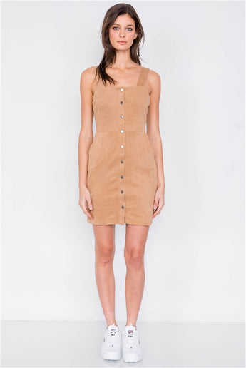 Camel suede corduroy ribbed button down square neck boho mini dress