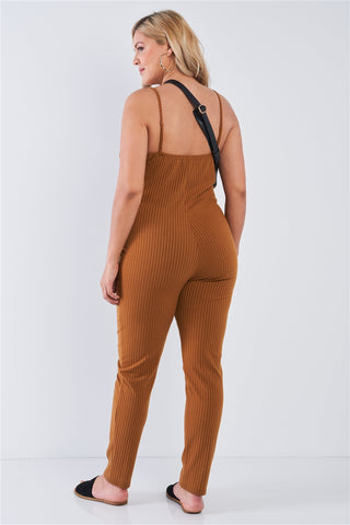 Junior Plus Size Camel Mustard Ribbed Knit Button Down Spaghetti Strap Jumpsuit- Back