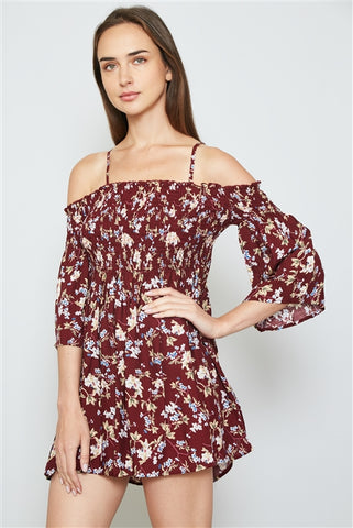 Burgundy floral print smocked bust cold shoulder mini dress