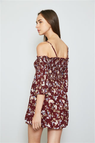 Burgundy floral print smocked bust cold shoulder mini dress- Close Up Back