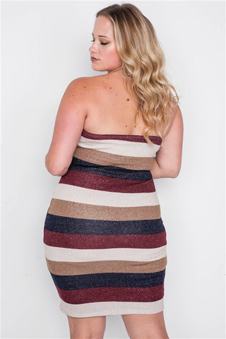 Plus Size Multi Stripe Strapless Bodycon Mini Dress- Back Close Up
