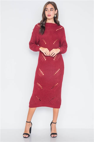 Burgundy Chunky Knit Long Sleeve Sweater Dress- Full Front