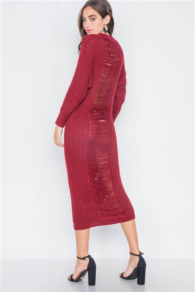 Burgundy Chunky Knit Long Sleeve Sweater Dress- Back