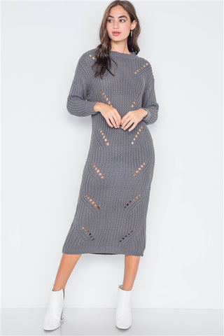 Gray Chunky Knit Distressed Midi Sweater Dress