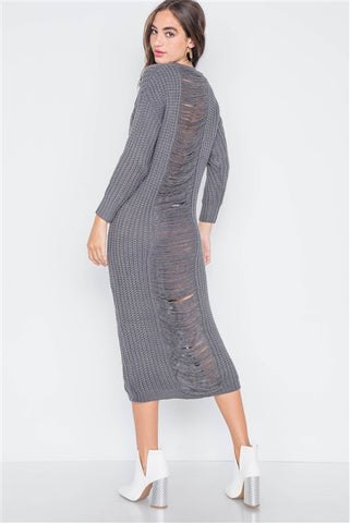 Gray Chunky Knit Long Sleeve Sweater Dress- Back