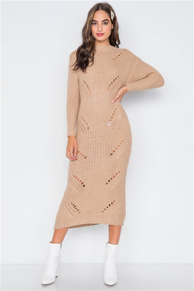 Khaki Chunky Knit Distressed Long Sleeve Midi Sweater Dress