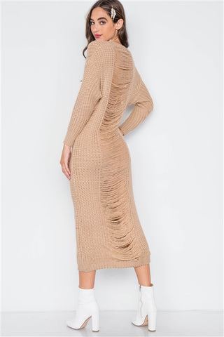 Khaki Chunky Knit Distressed Long Sleeve Midi Sweater Dress- Back