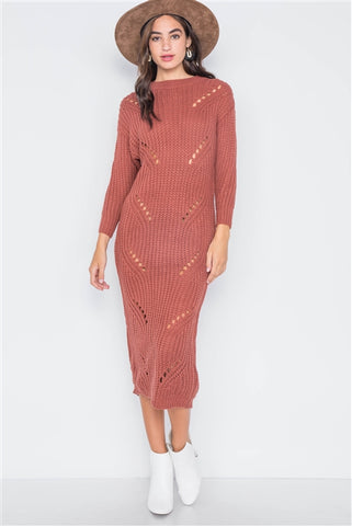 Rust Chunky Knit Distressed Long Sleeve Midi Sweater Dress