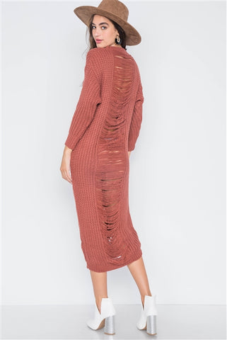 Rust Chunky Knit Distressed Long Sleeve Midi Sweater Dress- Back