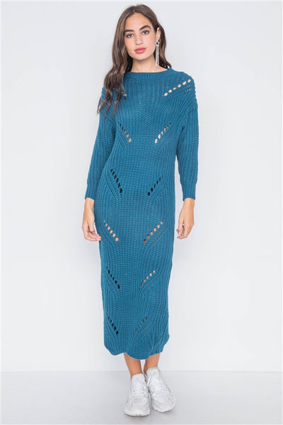 Teal Chunky Knit Distressed Long Sleeve Midi Sweater Dress