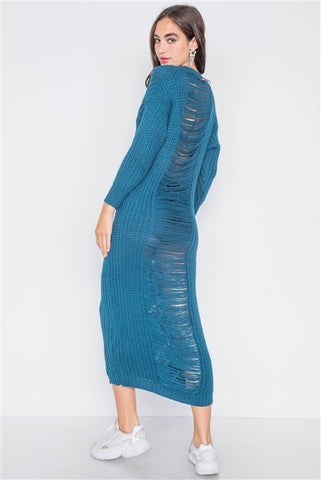 Teal Chunky Knit Long Sleeve Sweater Dress- Back