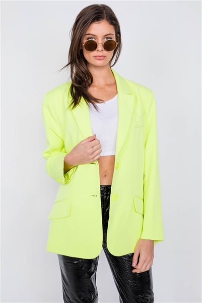 Lemonade Neon Yellow Relaxed Fit Boyfriend Casual Blazer Jacket- Back