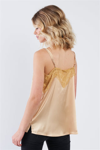 Golden Yellow Satin Lace V-Neck Adjustable Cami Top- Back