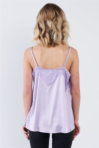 Lavender Satin Lace V-Neck Adjustable Cami Top- Back