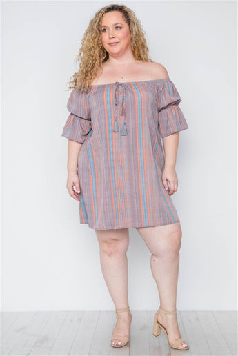 Plus Size Multi Coral Stripe Off-The-Shoulder Dress- Full Front