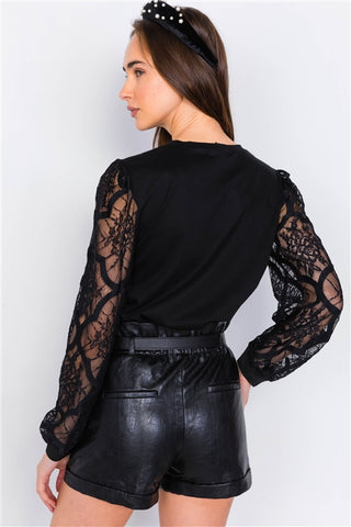 Black lace full puff sleeve causal office chic top- back