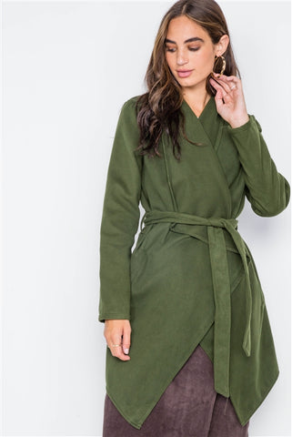Olive Fleece Drape-Front Long Sleeve Cardigan Sweater Jacket
