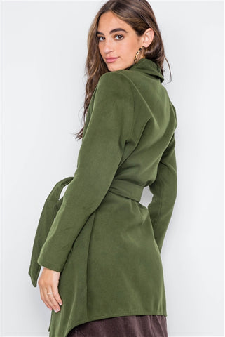 Olive Fleece Drape-Front Long Sleeve Cardigan Sweater Jacket- Back