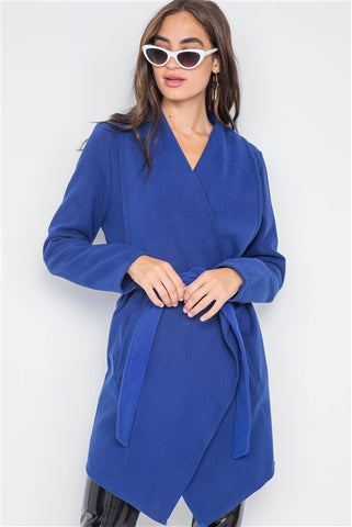 Royal blue Jacket Fleece Drape-Front Long Sleeve Cardigan Sweater Jacket