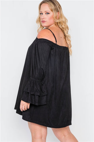 Plus Size Black Faux Suede Off the Shoulder Mini Dress- Back