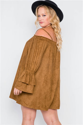 Plus Size Camel Faux Suede Off the Shoulder Mini Dress- Back