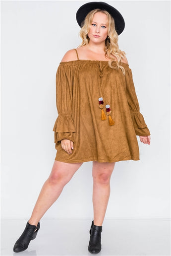 Plus Size Camel Faux Suede Off the Shoulder Mini Dress- Full