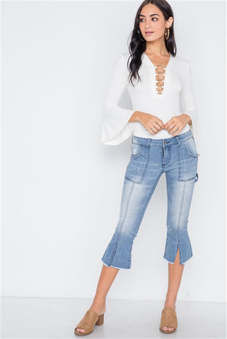 Denim light blue mid-rise flare cropped capri jeans- Full Front