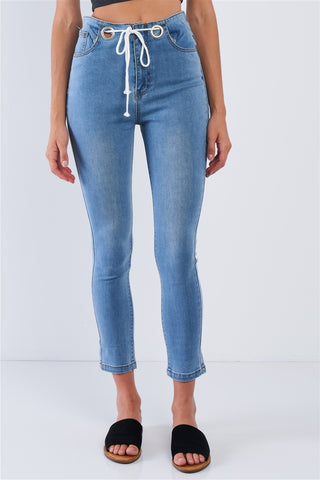 Light Blue Wash Shoelace Tie High Waisted Ankle Length Jean Pants