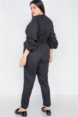 Plus Size Black V-Neck Puff Sleeve Straight Leg Jumpsuit- Back