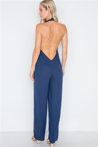 Navy Open Back Mock-Neck Evening Jumpsuit- Full Back