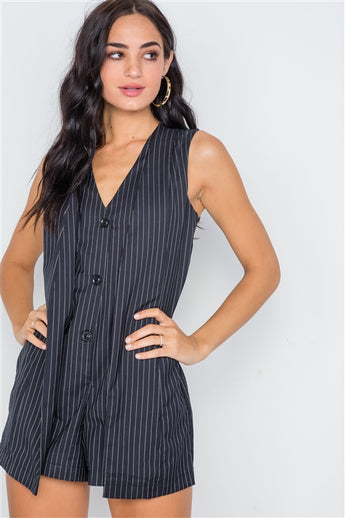 Navy stripe button down sleeveless romper