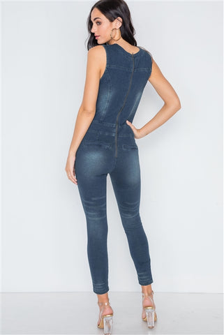 Dark denim stretch lace up bodycon jumpsuit- Back