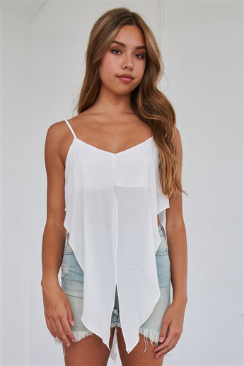 Off-white wrap waist cami top