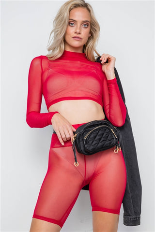 Red Sheer 2 Piece Biker Shorts Crop Top Set