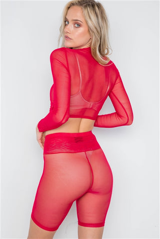 Red Sheer 2 Piece Biker Shorts Crop Top Set- Back