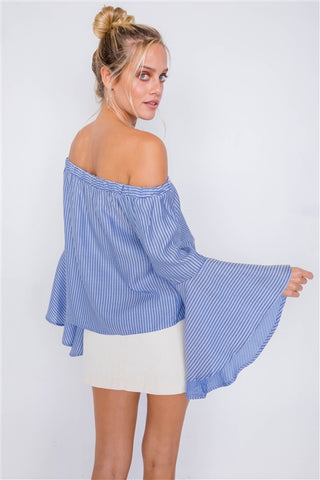 Sky Off-The-Shoulder Belle Sleeve Chic Tencel Top- Back