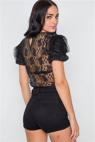 Black Floral Lace Mesh Sleeves Sheer Top- Back