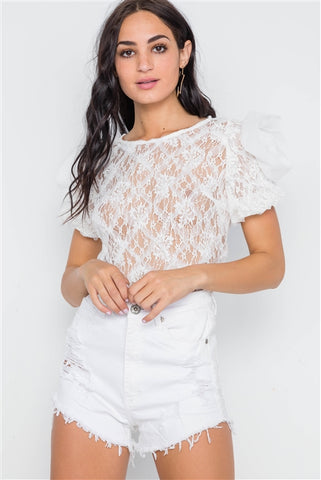 White Floral Lace Mesh Sleeves Sheer Top