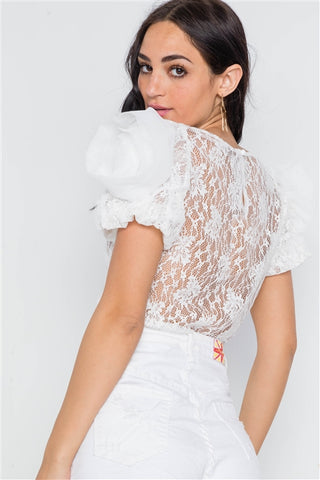 White Floral Lace Mesh Sleeves Sheer Top- Back
