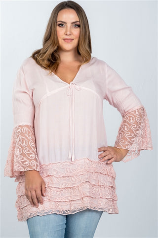 Pink Boho Plus Size Lace Hem V Neck Tunic Top- Outfit