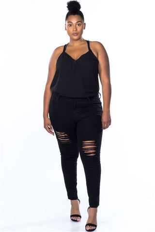 Cotton Spandex Black Plus Size Distressed Skinny Jeans- Full