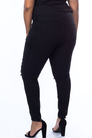 Cotton Spandex Black Plus Size Distressed Skinny Jeans- Back